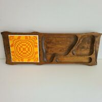 Vintage MCM Orange Mod Psychedelic Wooden Cheese Tray Serving Platter Metal Tile