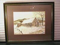 Antique Barn Watercolor Painting Signed William Carpenter