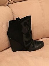 Steven by Steve Madden Miitch Suede Wedge Bootie with Reptile Embossed black 7.5