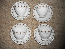 MADE IN CHINA TEA CUP AND SAUCER RED/BEIGE PATTERN TEACUP Lot of 8