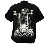 David Gonzales Art DGA Ride or Die My Old Lady Motorcycle Adult Mens Work Shirt