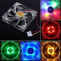 120mm 12V 4 Pin Quad 4 LED Light Computer PC Clear Case CPU Cooler Cooling Fan