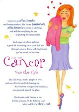 Postcard Horoscope Zodiac Star Sign CANCER, Ladies, Women, Girls, Novelty Gift