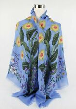 Gucci Blue Wool/Silk Square Scarf Shawl with Wildflowers Print 476483 4800