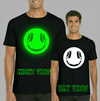 Headphone Smiling GLOW IN THE DARK T-Shirt, Funny Rave Dj Kids & Adults Top