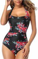 Smismivo Tummy Control Swimwear Black Halter One Piece, Floral Red, Size X-Large