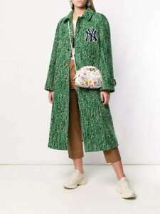 NWT GUCCI Yankees Green Oversize Logo Long Wool Tweed Jacket Coat S 8 10 IT40