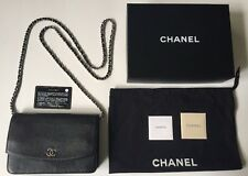 Chanel Black Caviar Leather Sevruga Shoulder Wallet On a Chain Handbag Crossbody