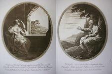 J. H. Lips 'esperanza y adiós' 2 x aquatinta, Kruse 244 u. 245, 1811