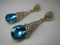 WATER DROP EARRINGS, ELEGANT 18K GOLD PLATED WITH RHINESTONE, IN 5 STONE COLOURS