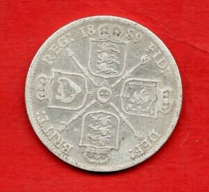 1889 SILVER FLORIN COIN. QUEEN VICTORIA JUBILEE HEAD. IN WELL USED CONDITION.