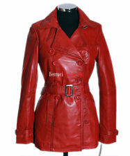 PARIS Ladies Leather Trench Coat Red Real Lamb Leather Jacket Mid length Coat