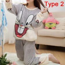 Women Cute Pajamas Set Warm Nightgown Female Cartoon Animal Pants Sleepwear BDAU