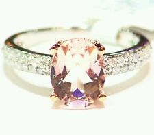 2.48CT 14K ROSE GOLD NATURAL MORGANITE CUT WHITE DIAMOND VINTAGE ENGAGEMENT RING
