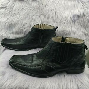 Stacy Adams Mens Leather Zip Up Casual Ankle Dress Formal Boots Size 11 M Black