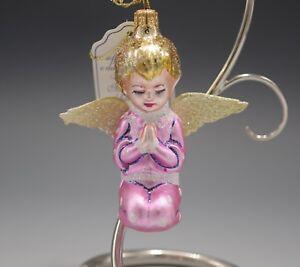 "ITALIAN  MERCURY GLASS PRAYING ANGEL CHERUB PUTTI CHRISTMAS ORNAMENT NEW 4"""