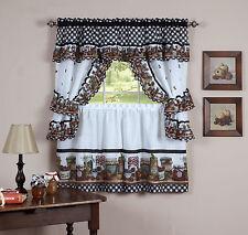 "Mason Jar Kitchen Curtain 36"" Tier Pair Valence Swag & Tieback Cottage Set"