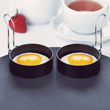 2PCS Stainless Steel Handle Round Egg Rings Shaper Pancakes Molds Ring Black