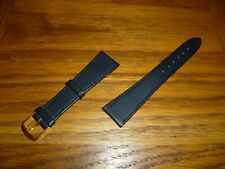 Gold Buckle 20mm Lugs D Men'S Black Leather Watch Strap Band