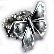 Butterfly Stretch Ring Gray Clear Crystal Silver Alloy Enamel
