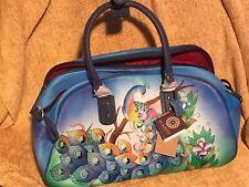 SUKRITI - Peacock Hand Painted Genuine Leather Duffel Bag Handbag +card Wallet