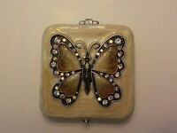 Vintage yellow women's compact mirror with Butterfly decor