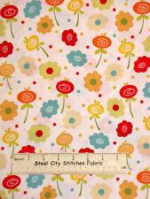 "Knock Knock By Dana Brooks Flowers Dots Henry Glass #9369 Cotton Fabric 26"""