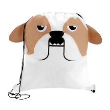 Bulldog - Childrens Animal Draw String Backpack Sport Pack Tote Bag