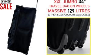 "34"" XXL Travel Luggage Durable Wheeled Holdall Trolley Suitcase Case Duffel Bag"