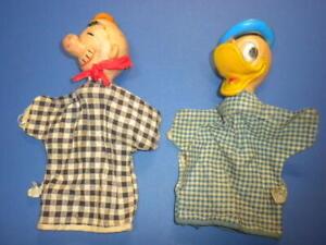 DONALD DUCK/Walt Disney & WIMPY from Popeye HAND PUPPETS vintage Gund lot