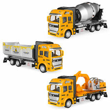BCP Set of 3 Friction-Powered Toy Construction Trucks - Yellow