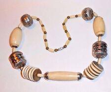 Massive Statement Runway Necklace Tribal Himalayan Large Yak Bone Silver Beads