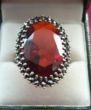 925 Sterling Silver/Marcasite and Synthetic Ruby Ring Size R