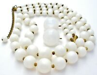 White Moonglow Bead Necklace & Earrings Jewelry Set Multi Strand Clip On Vintage