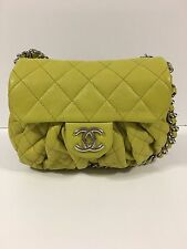 Chanel Green Quilted Leather Chain Around Messenger Bag Authentic
