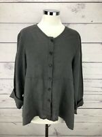 FLAX Gray Linen Button Down Tie Back Drawstring Tunic Top Size S Long Sleeve