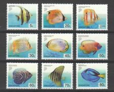 SINGAPORE 2001 TROPICALS MARINE FISHES (LOWER VALUE) COMP. SET OF 9 STAMPS MINT