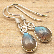 925 Silver Plated Drop Blue Fired LABRADORITE FRENCH HOOK HANDMADE Earrings NEW