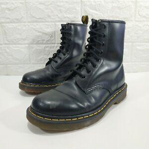 Original Dr Martens 1460 Black Smooth Leather Boots Sz 8 EUR 38 Hi Top Shoes VGC