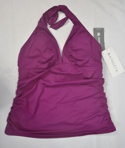 NWT $59 Athleta Exotic Fuchsia Shirrendipity Halter Tankini Swimsuit Top #739201