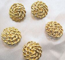 """5 -Beautiful Large 1-5/8"""" GOLD TONE ROPE SWIRL LOOK METAL Shank BUTTONS"""