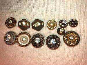 Pierced Brass Filigree Twinkle Button Victorian Windmill Center Mirror Back Shank Button Collectible Vintage Button   B790-1 Button