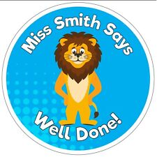 80 Personalised Teacher Reward Stickers for Pupils blue lion well done