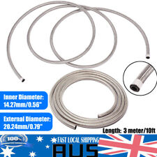 AN10 Braided Fuel Oil Line Hose 3m 14mm DIA Stainless Steel 7Mpa/1015psi