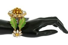 DOLCE & GABBANA Bracelet Gold MARHERITE Crystal Sunflower Bangle Cuff RRP $1400