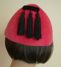 Vintage Women's Rose Colored Rare Cone Hat with 3 Black Tassels