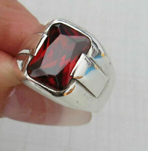 TURKISH HANDMADE JEWELRY 925 STERLING SILVER SQUARE RUBY STONE MENS RING