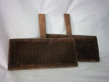 Pair Sheep Wool Carding Paddles Primitive Decorative L.S.Watson Leicester Mass.
