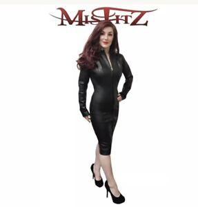 Misfitz black leather look mistress dress 2 way zip size 24 TV Goth Cross-dress