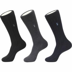 Polo Ralph Lauren Men's Merino Wool 3-Pairs Socks Sz: 10-13 Fits Shoe 6-12.5